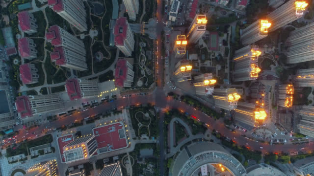 Aerial view residential building drone point of view, cinematic looks shanghai stock videos & royalty-free footage