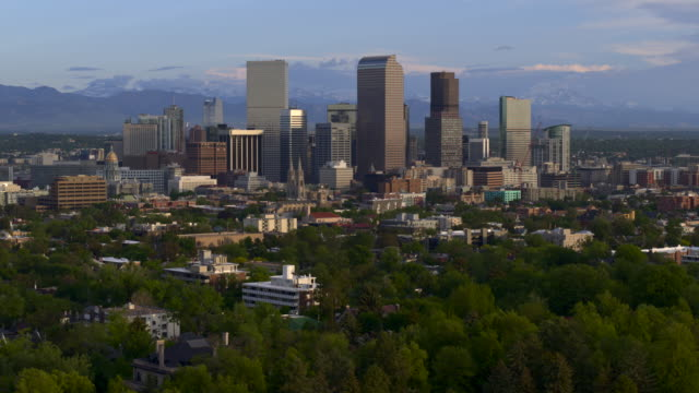 Aerial view rising above downtown Denver