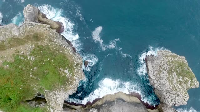 Aerial View Rock Cliffs on a Coastline video