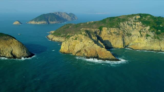 Aerial View Rocky Coastal Islands nr Hong Kong video