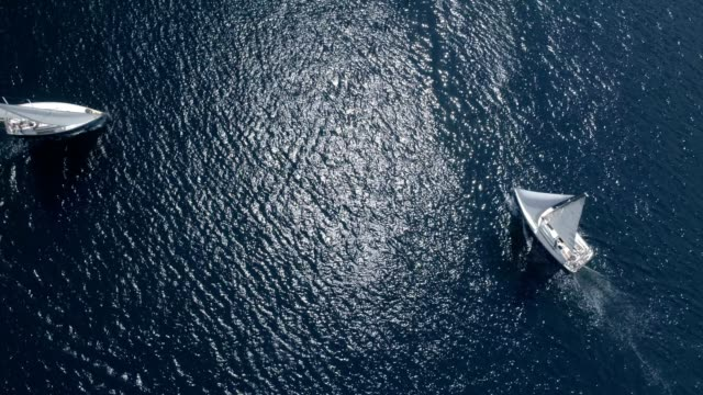 aerial view sailing yachts video
