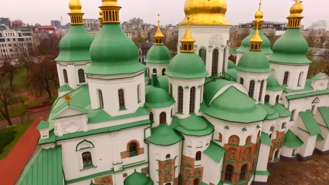 Aerial view Saint Sophia Cathedral in Kyiv. Ukraine, Europe. Architectural, religion and historical monument of Kiev in autumn video