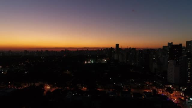 Aerial View Sao Paulo City on sunset time, Brazil video