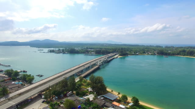 aerial view Sarasin bridge the important route connecting by land.