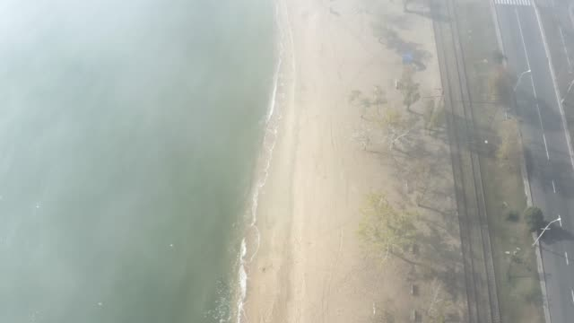 Aerial view. Seacoast in the fog