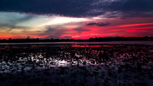 vidéos et rushes de photo vue aérienne du beau coucher de soleil sur le lac - lac reflection lake