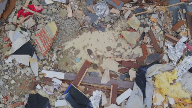 Aerial view shot of Destroyed concrete building