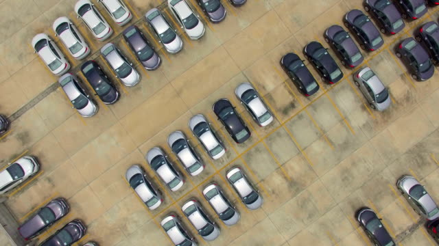 Aerial view shot of new cars for sale video