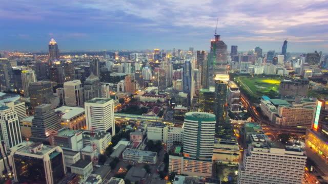 Aerial view shot of the city at night,Bangkok Thailand video