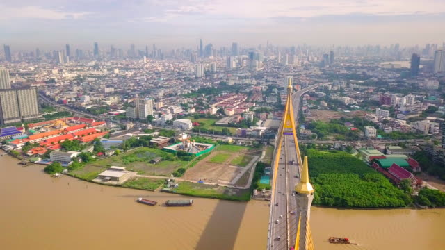 Aerial view shot of Traffic at the Bhumibol Bridge in Thailand video