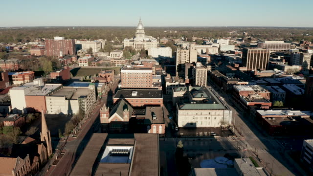 Aerial View Sliding Left Over Buildings and Downtown Springfield Illinois