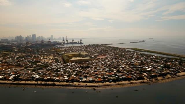 aerial view slums of manila, the poor district. philippines, manila - getty filmów i materiałów b-roll