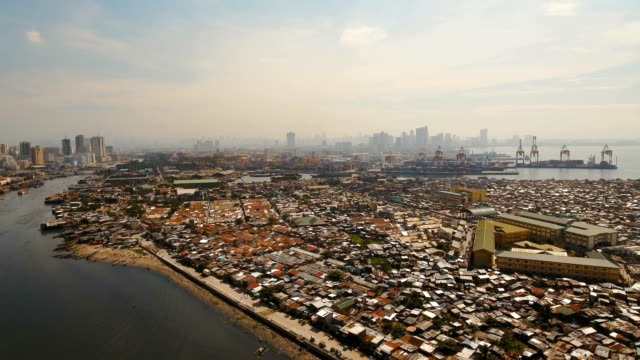 Aerial view slums of Manila, the poor district. Philippines, Manila video