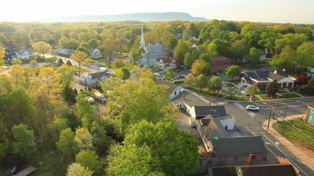 Aerial view small town New England video