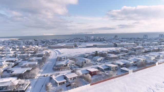 WS Aerial view snow covered town,Iceland