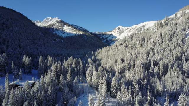 Aerial view snowy mountains video