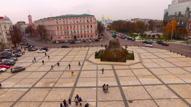 Aerial view Sophia square in Kyiv city, Ukraine, Europe. The monument to Bogdan Khmelnitsky in Kiev video
