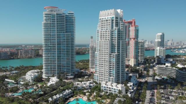 Aerial view South Pointe Beach, Miami, Florida, 4k video