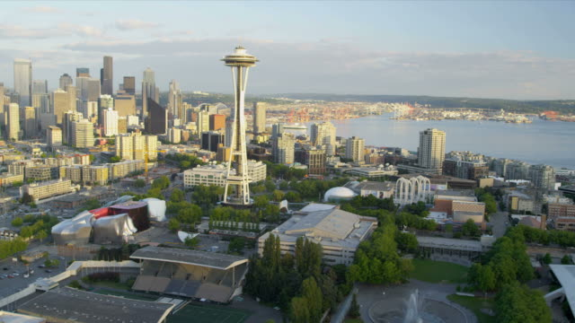 Aerial view Space Needle Downtown Seattle video