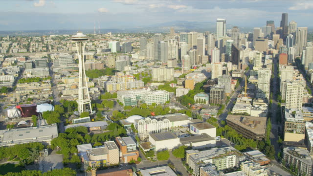 Aerial view Space Needle observation tower, Seattle, USA video