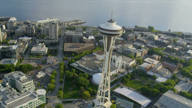 Aerial view Space Needle Observation Tower, Seattle video
