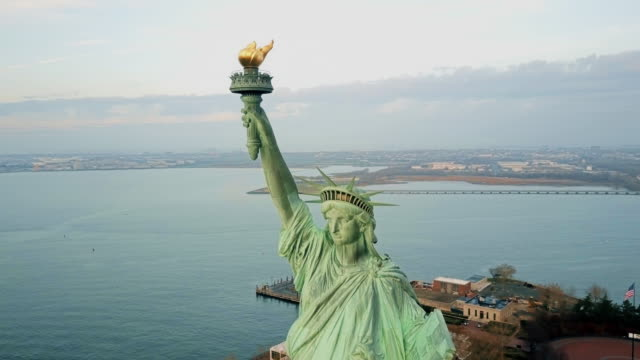 Aerial view Statue of Liberty 4K video