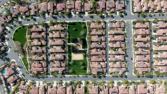 Aerial view suburban neighborhood with identical wealthy villas next to each other. San Diego, California, USA