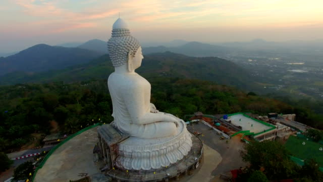aerial view sunset at phuket big buddha thailand - phuket video stock e b–roll