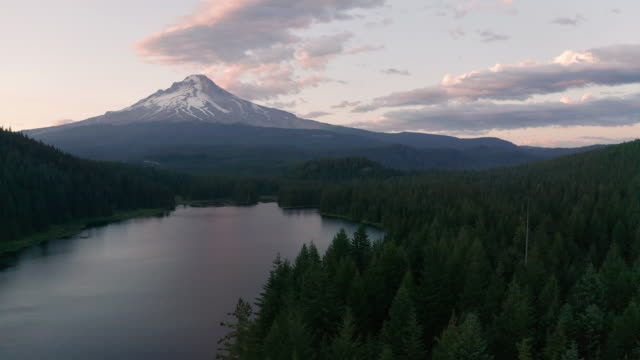 aerial view sunset mount hood and trillium lake at mud creek - триллиум стоковые видео и кадры b-roll