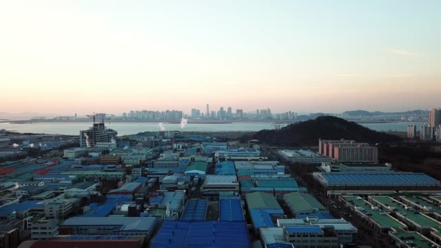 Aerial view Sunset of the industrial park. incheon City, Seoul Korea Aerial view Sunset of the industrial park. incheon City, Seoul Korea korea stock videos & royalty-free footage