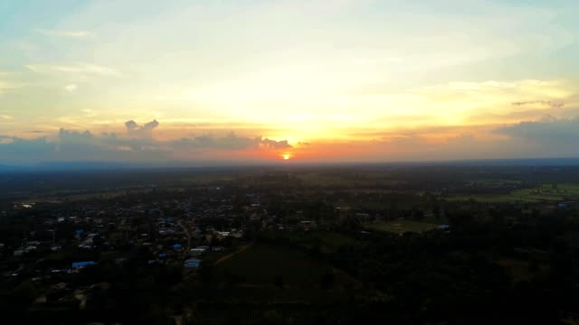Aerial view Sunset The rural community In Southeast Asia.