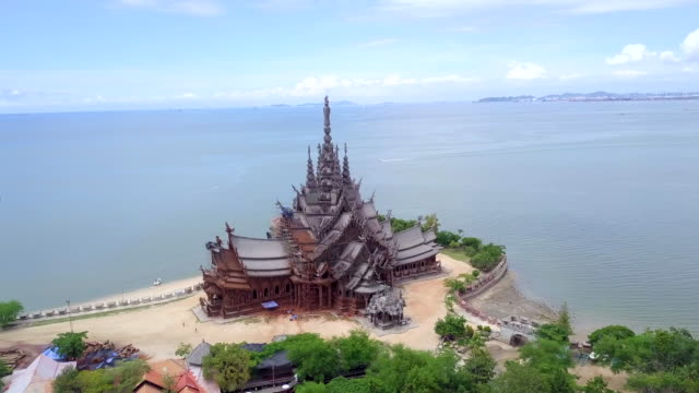 Aerial view The Sanctuary of Truth in Pattaya Chon Buri Thailand Aerial view The Sanctuary of Truth in Pattaya Chon Buri Thailand pattaya stock videos & royalty-free footage