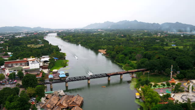 Aerial view The train runs across the bridge across the River Kwai, built during the Second World War.