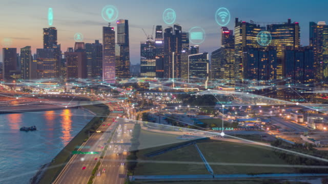 Aerial view Time lapse of Singapore skyline with network connections line.Internet of Things And smart city concept,Technology-Futuristic concept