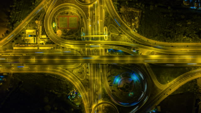 Aerial view Time lapse of the expressway, motorway and highway in the detail of circus intersection video