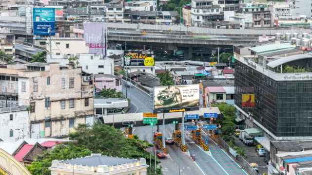 Aerial view Time-lapse of  Traffic at Bangkok Central Station video