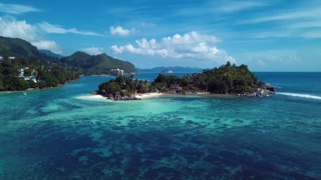 4k 鳥瞰馬埃島的綠樹和清澈的藍水 - 熱帶樹 個影片檔及 b 捲影像