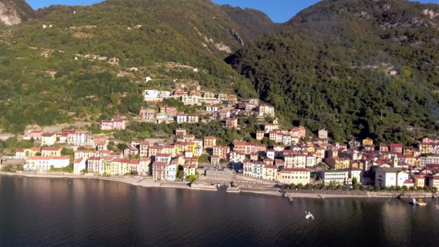Aerial View Town and Village at Lake Como Como lake village lombardy stock videos & royalty-free footage