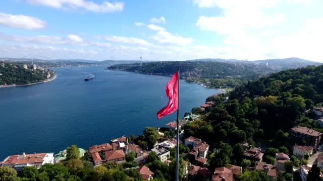 Aerial view Turkish Flag Istanbul 4K