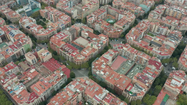 Aerial view. Typical square quarters of Barcelona