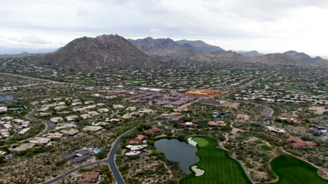 Aerial view upscale luxury homes and golf course, Scottsdale