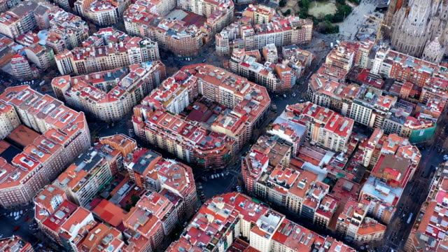 Aerial view video footage of residence districts in european city. Eixample district. Barcelona, Spain - video