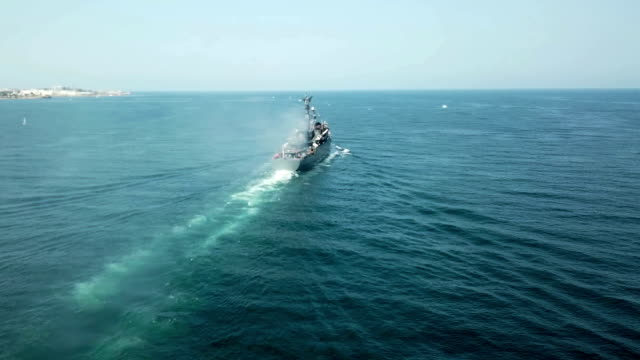 Aerial View - warship on the high seas video