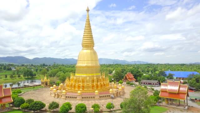 Aerial view Wat Prabudhabaht Huay Toom Lamphun Province Landmark of Thailand video