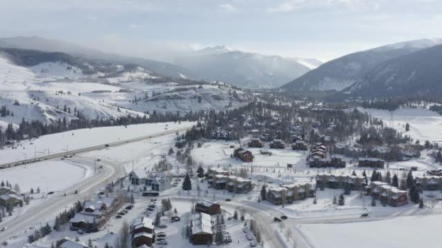 Aerial View Winter Day Snowy Town Keystone Colorado USA
