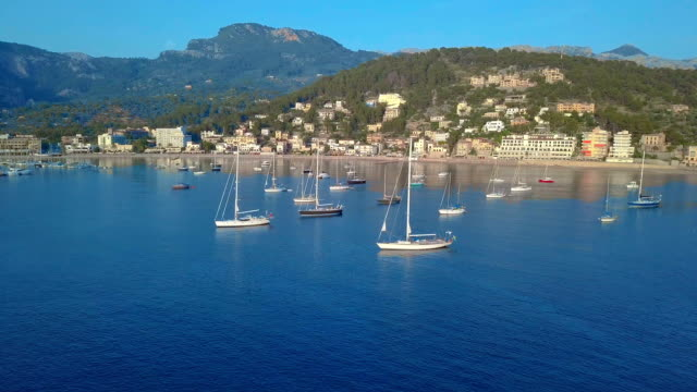 aerial view. yacht and sailboats moored at the quay - port wine stock videos & royalty-free footage
