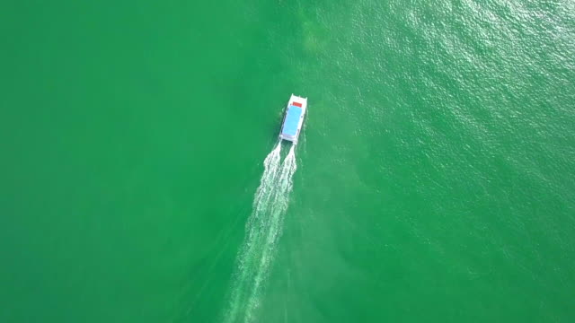 Aerial view Yacht in the middle of the sea of Thailand video