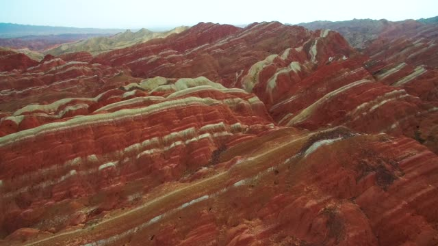 aerial view zhangye danxia national geological park of china - rock formations stock videos & royalty-free footage