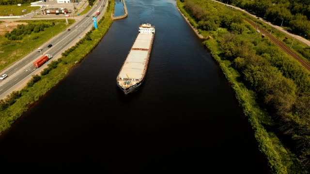 Aerial view:Barge on the river video
