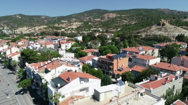 Aerial view/General city view of Foca,Izmir. Izmir/Turkey 09/19/2018 Aerial view/General city view of Foca,Izmir. Izmir/Turkey 09/19/2018 general view stock videos & royalty-free footage